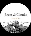 Klebe-Etiketten rund Blossoms 60 mm schwarz
