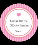Klebe-Etiketten rund Vintage Stripes rosa 60 mm
