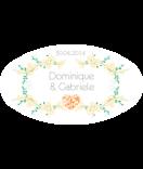 Klebe Etiketten oval Filigree orange 80 x 45 mm 1