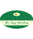 Honig Etiketten oval Honeycomb 80 x 45 mm grün