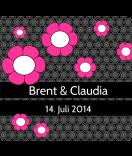 Klebe-Etiketten Cherry Blossom 95 x 90 mm schwarz