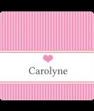 Klebe-Etiketten Vintages Stripes rosa 95 x 90
