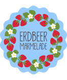 Klebe-Etiketten rund Sweet Fruits 44 mm Erdbeer blau