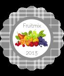 Klebe-Etiketten Sweet Fruits rund Multifrucht grau