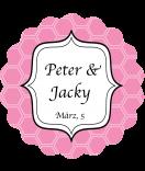 Klebe-Etiketten rund Frame 44 mm rosa