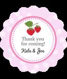 Erdbeer Hochzeit Etiketten 44 mm rund