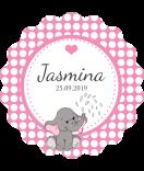 Baby Etiketten rund Elefant rosa 44 mm
