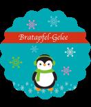Etiketten Weihnachten rund Happy Pinguin 44 mm türkis