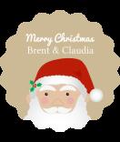 Klebe-Etiketten rund Santa 44 mm braun