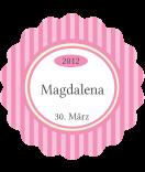 Klebe-Etiketten Vintage Stripes rosa 44mm