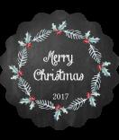 Klebe-Etiketten rund Rustic Christmas 44 mm Chalkboard