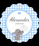 Baby Etiketten rund Elefant blau 44 mm