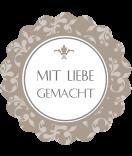 Klebe-Etiketten rund  Floral 44 mm braun