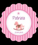 Baby Etiketten rund Schaukelpferd 44 mm rosa