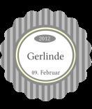 Klebe-Etiketten rund Vintage Stripes grau 44 mm