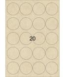 3 Bogen A4 Kraftpapier Etiketten rund braun 48 mm