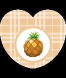 Aufkleber Herz Sweet Fruits Ananas 44 x 39 mm