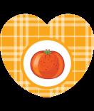 Aufkleber Herz Sweet Fruits Orange 44 x 39 mm