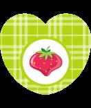 Aufkleber Herz Sweet Fruits Erdbeere 44 x 39 mm