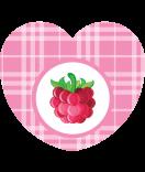 Aufkleber Herz Sweet Fruits HImbeere 44 x 39 mm