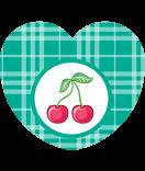 Aufkleber Herz Sweet Fruits Kirsche 44 x 39 mm