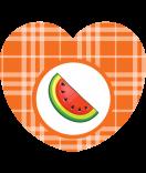Aufkleber Herz Sweet Fruits Melone 44 x 39 mm