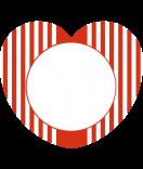 24 Aufkleber Herz Candy Stripes rot 44 x 39,2