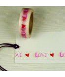 Masking Tape, Washi Tape LOVE rot-pink 15 mm x 10 m