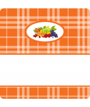 15 Aufkleber Sweet Fruits Multifrucht 50 x 50 mm orange