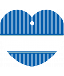 24 Hangtags Vintage Stripes blau Herz 44 x 39,2 mm