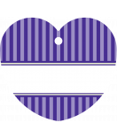 24 Hangtags Vintage Stripes violett Herz 44 x 39,2 mm