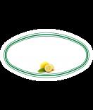10 Aufkleber für Gläser oval mit Zitrone Motiv 80 x 45 mm