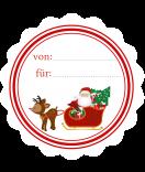 20 Weihnachts-Etiketten 44 mm rund Santa
