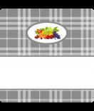 15 Aufkleber Sweet Fruits Mehrfrucht 50 x 50 mm grau