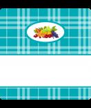 15 Aufkleber Sweet Fruits Mehrfrucht 50 x 50 mm türkis