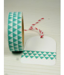 Masking Tape, Washi Tape Bordüre, Dreiecke mint-weiß 15 mm x 10 m