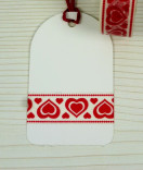Masking Tape, Washi Tape Herz rot-weiß 15 mm x 10 m