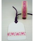 Masking Tape, Washi Tape Herz rosa-weiß 15 mm x 10 m