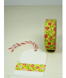 Masking Tape, Washi Tape Blumen mint-pink 15 mm x 10 m