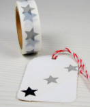 Masking Tape, Washi Tape Sterne Grau-Schwarz 15 mm x 10 m