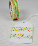 Masking Tape, Washi Tape Blumen Ranke Rot Grün 15 mm x 10 m