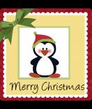 Weihnachts-Sticker Pinguin-3 50 x 50 mm